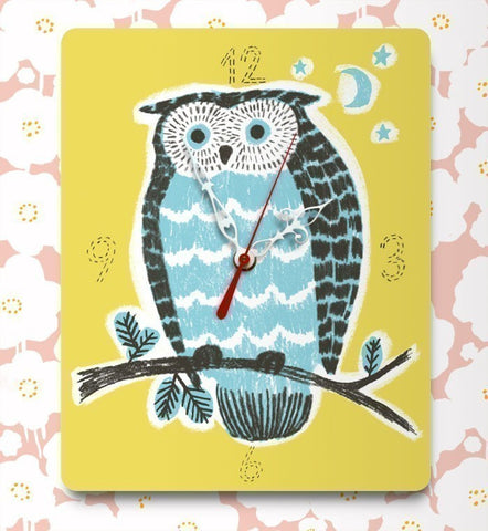 night owl clock (yellow & blue)