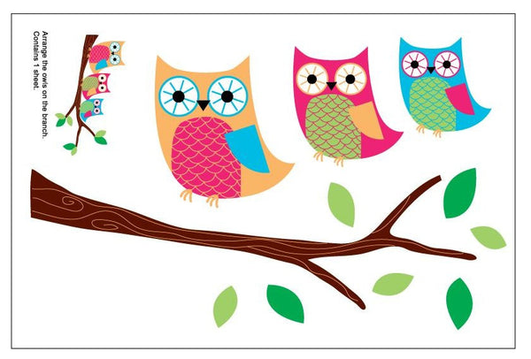 owl on a branch wall decal