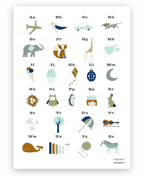 Alphabet Poster (green/brown)