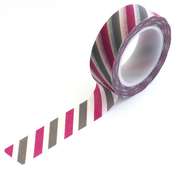 washi tape - purple & grey stripes