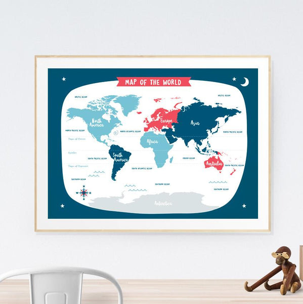 'World Map' (navy) art print