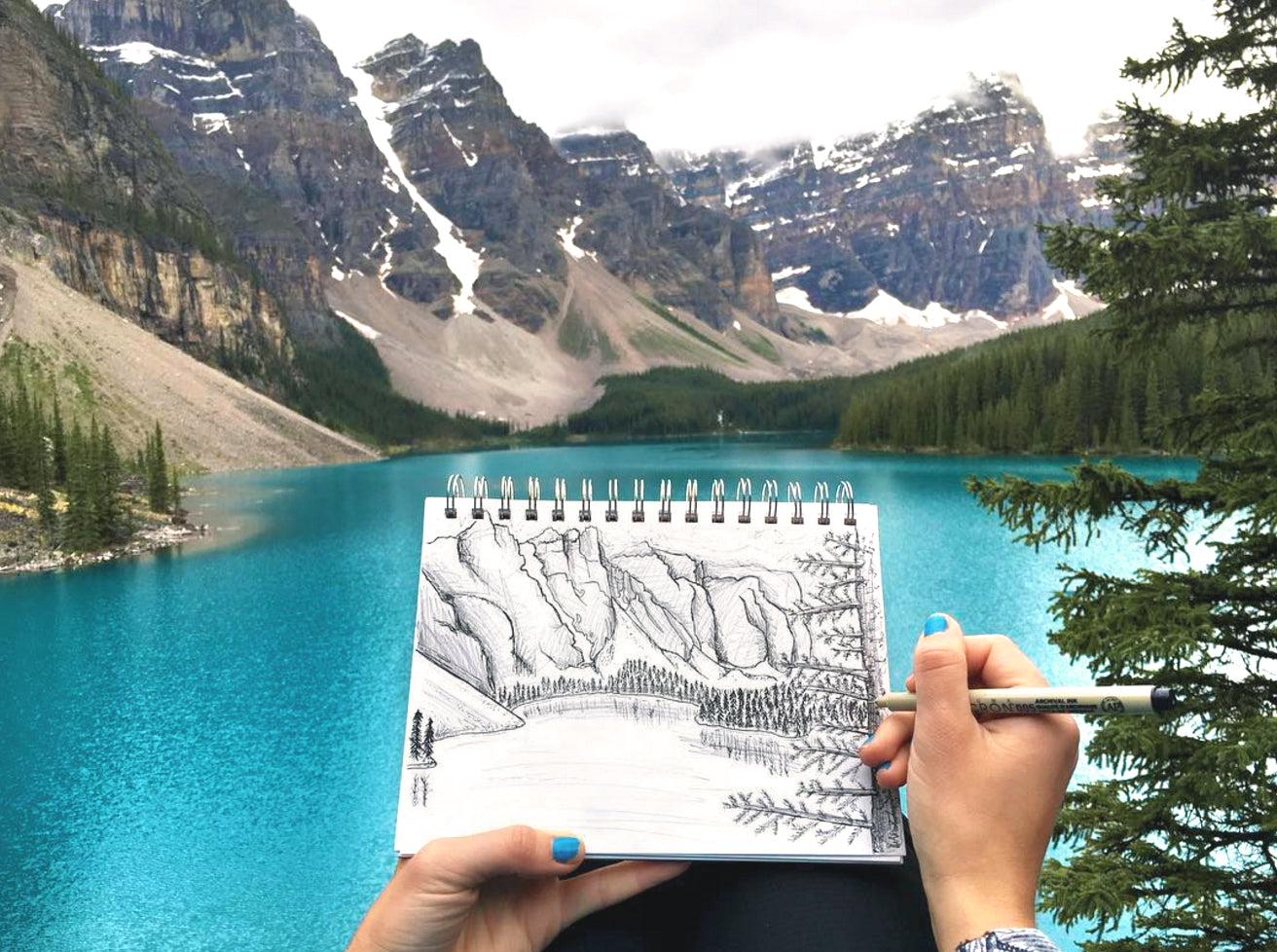 Lisa Kowieski | Drawing at Moraine Lake | Parks Project