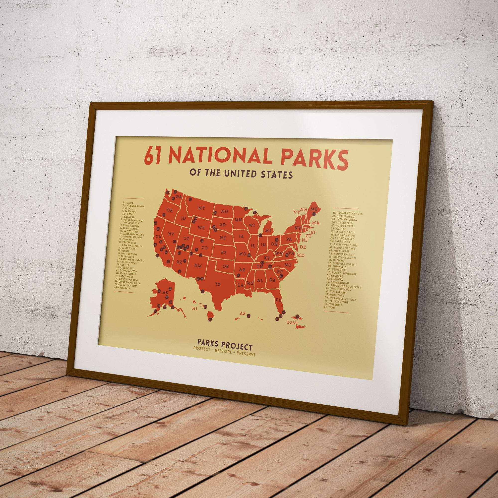 Mid Century National Parks Poster Map