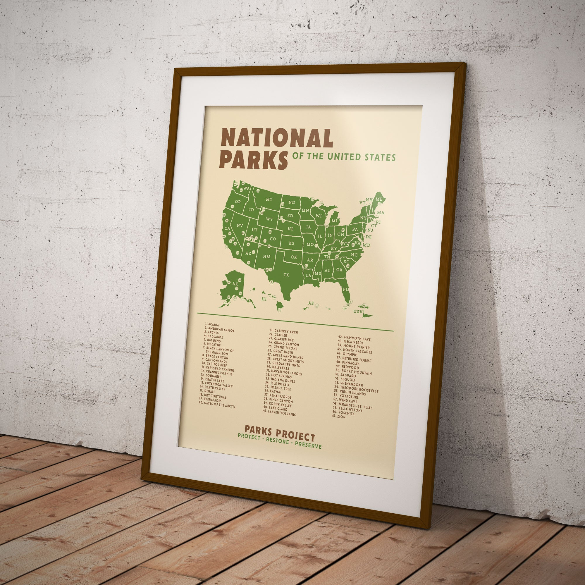Schoolhouse National Parks Poster Map | Parks Project | National Park Posters