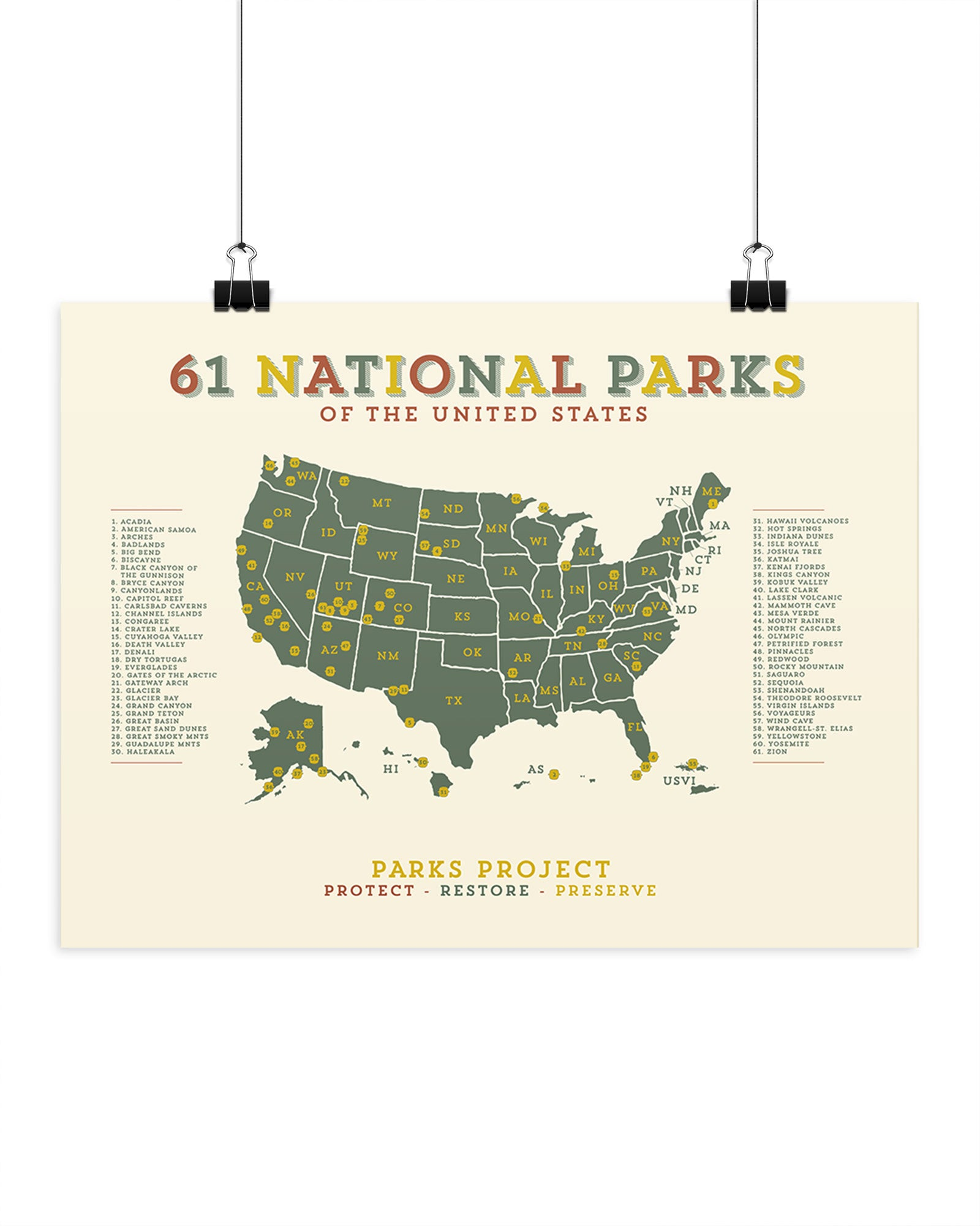 National Parks Mapped Green Acres Poster National Parks Mapped Green Acres  Poster