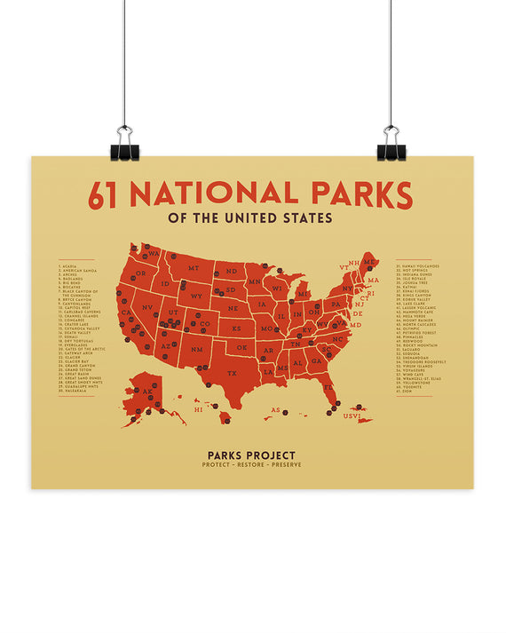 National Parks Mapped Mid Century Poster | Parks Project | National Parks Map Poster