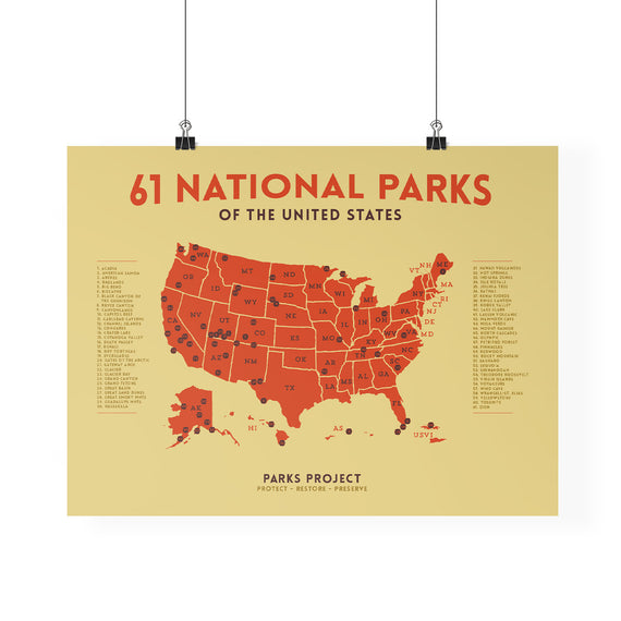 Mid Century National Parks Poster Map | Parks Project | Vintage National Parks Poster