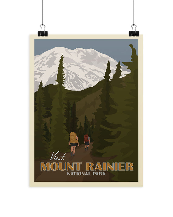 Visit Mount Rainier National Park Poster | Parks Project | National Park Posters