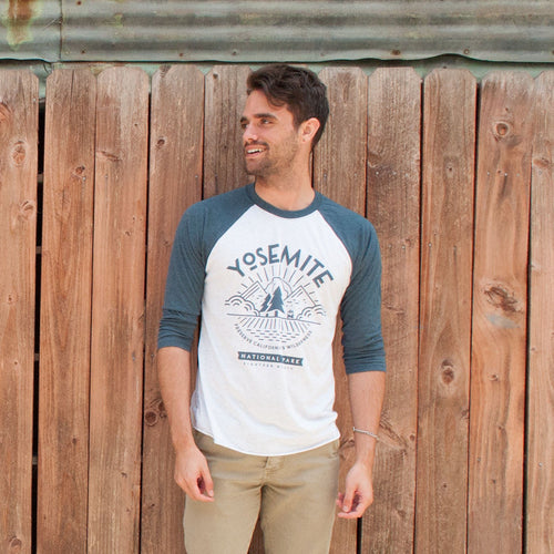 Yosemite National Park Valley View Baseball Raglan Tee | Parks Project | Vintage national Park T-Shirts