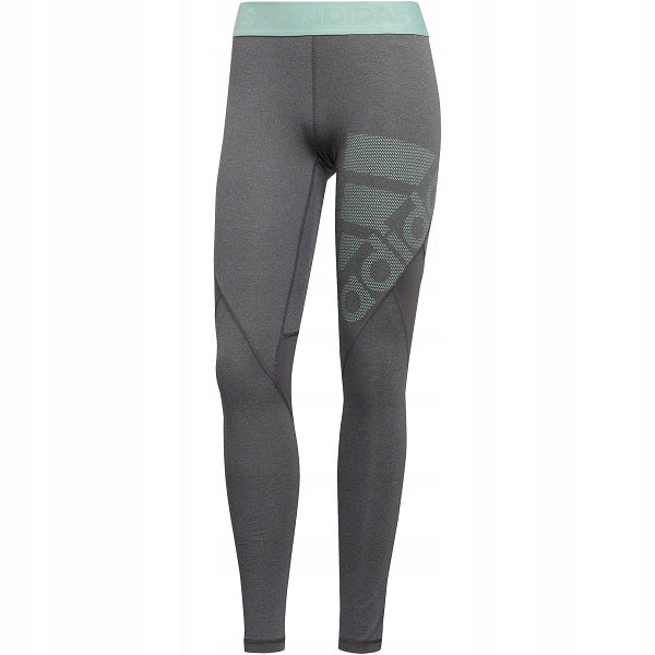 adidas Womens Alphaskin Leggings (Dark Grey/Clear Mint)