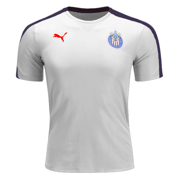 aa9bb4107a90 On Sale Puma Chivas Pre-Match Training Top Soccer Jersey (White Navy)