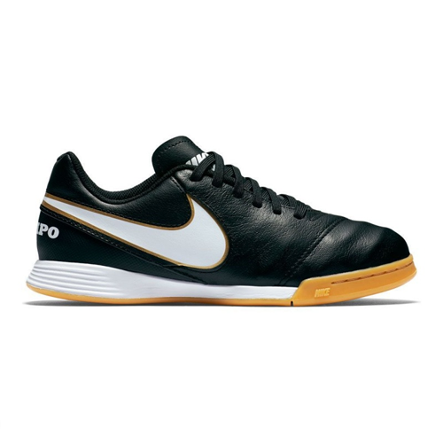 Nike Jr Tiempo Legend VI IC Indoor Court Soccer Shoes (Black/White)