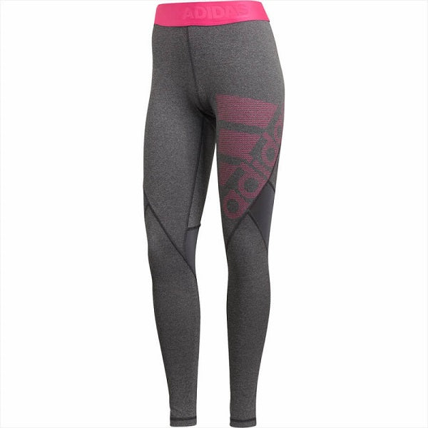 adidas Womens Alphaskin Leggings (Dark Grey/Real Magenta)