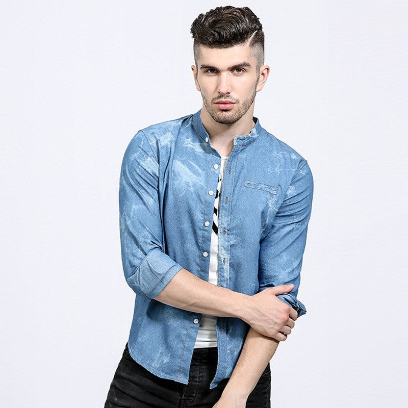 6c764b0ccf ... 2018 Autumn Mens Denim Shirts Decorative Pockets Blue Color Brand Clothing  Man s Long Sleeve Slim Fit ...