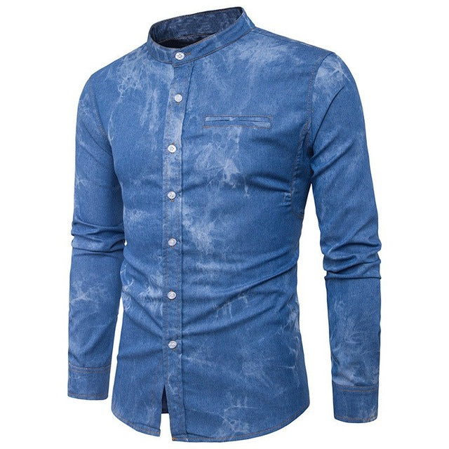 b950af5315 ... 2018 Autumn Mens Denim Shirts Decorative Pockets Blue Color Brand Clothing  Man s Long Sleeve Slim Fit