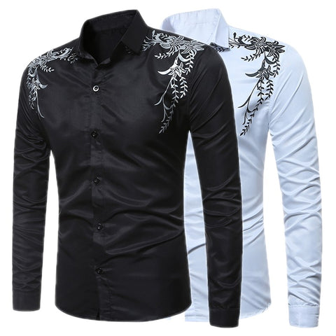 c352f1ae5944 2018 New Autumn Fashion Brand Men Clothes Slim Fit Male Long Sleeve Shirt  Print Casual Dress