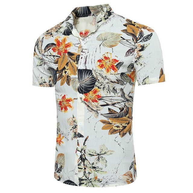 Summer Shirt Men 2018 Floral Print Slim Fit Casual Top Short