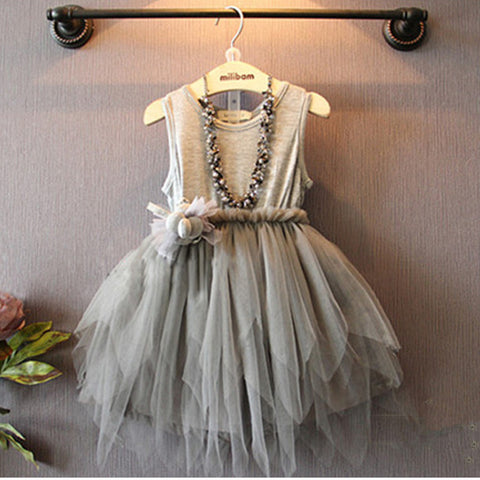 Girls Grey High Low Hem Tutu Dress