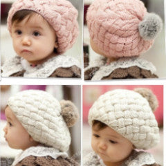 Girls knit beanie with faux rabbit pom pom