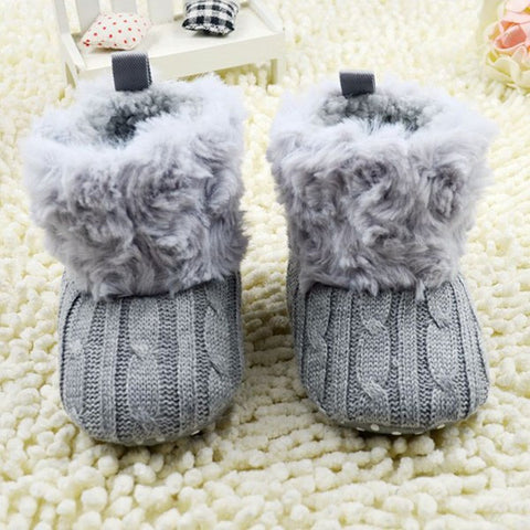 Baby Knit & Fur Booties