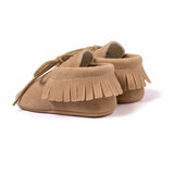 Lace Up Suede Fringe Moccasins