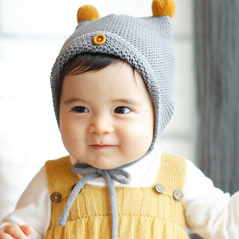Baby Knit Hat with Pom-Poms