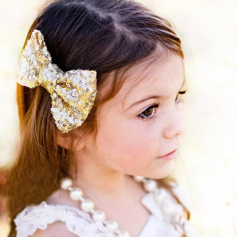 Sequin Bow Hair Clip