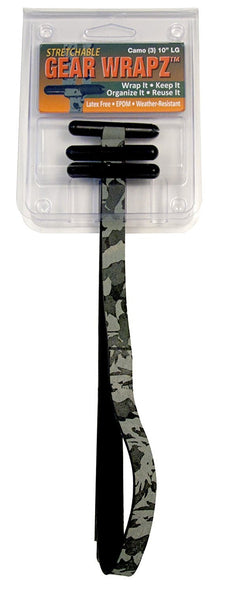 Large Camo Gear Wrapz. Camoflauge EPDM Rubber All Weather Bundling Device for Indoor/Outdoor use