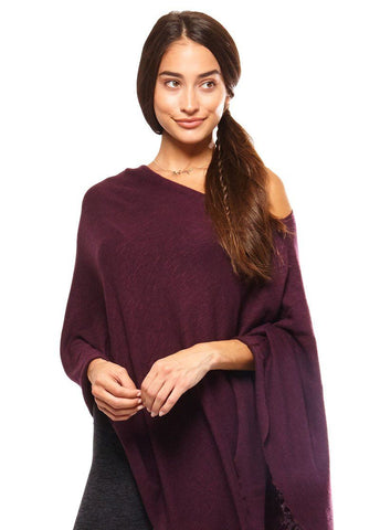 Be Love - Poncho Merlot Long Sleeves Be Love Apparel
