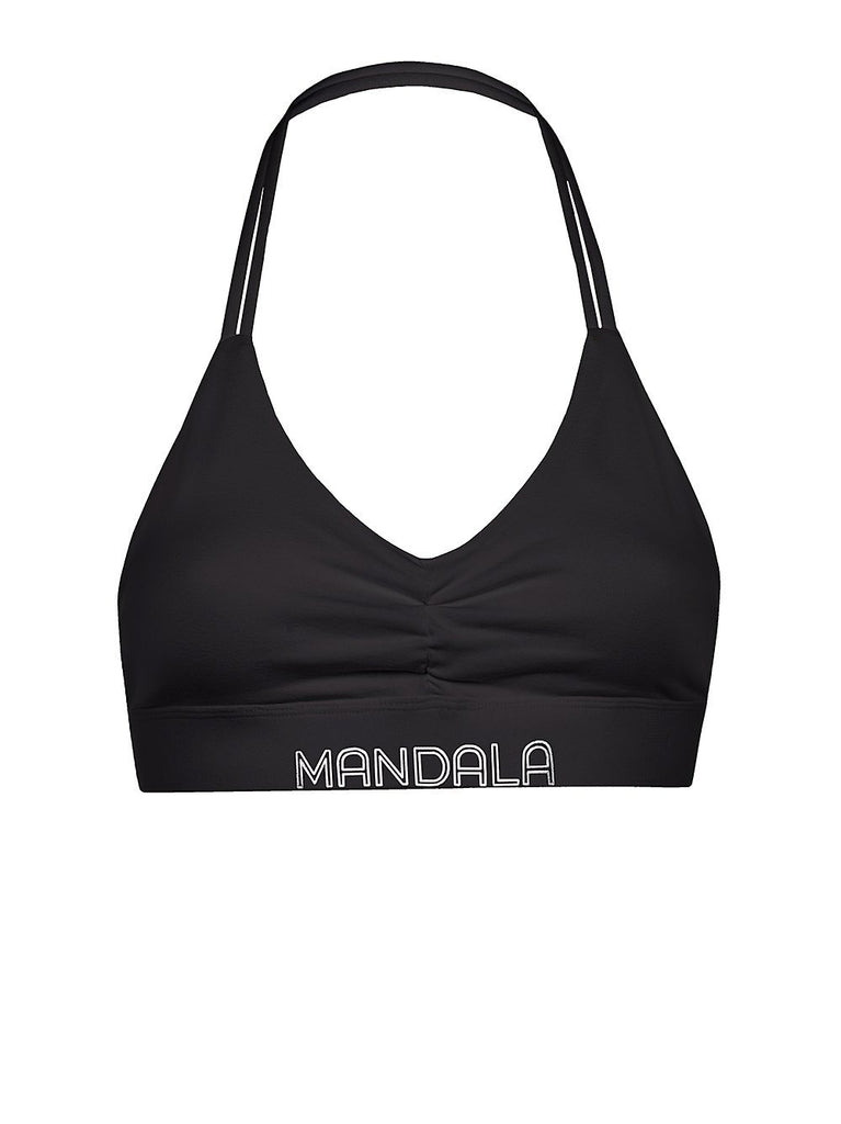 Mandala Yoga Wear - Halter Neck Yoga Bra Black Yoga Bra Mandala
