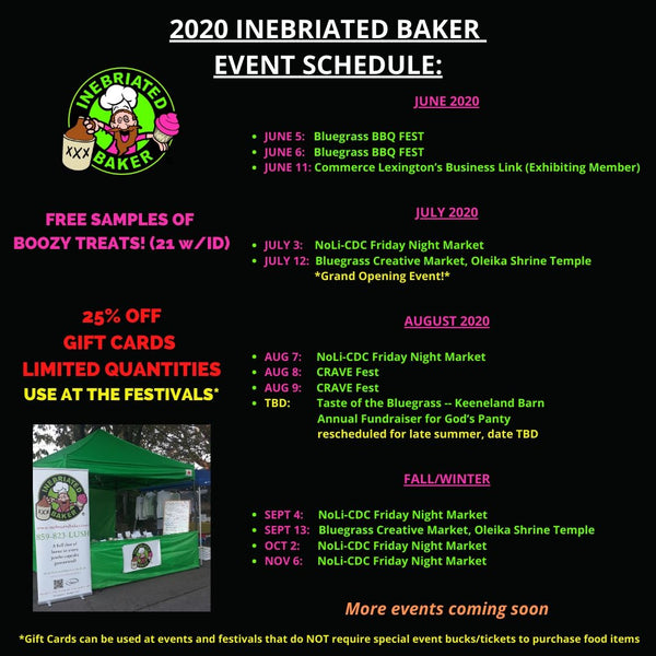 inebriated baker 2020 event schedule - updated 3/30/2020