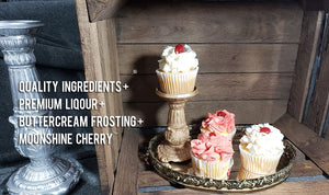 cupcake photo wood crate metal tray Quality Ingredients + Premium Liquor + Buttercream Frosting + Moonshine Cherry