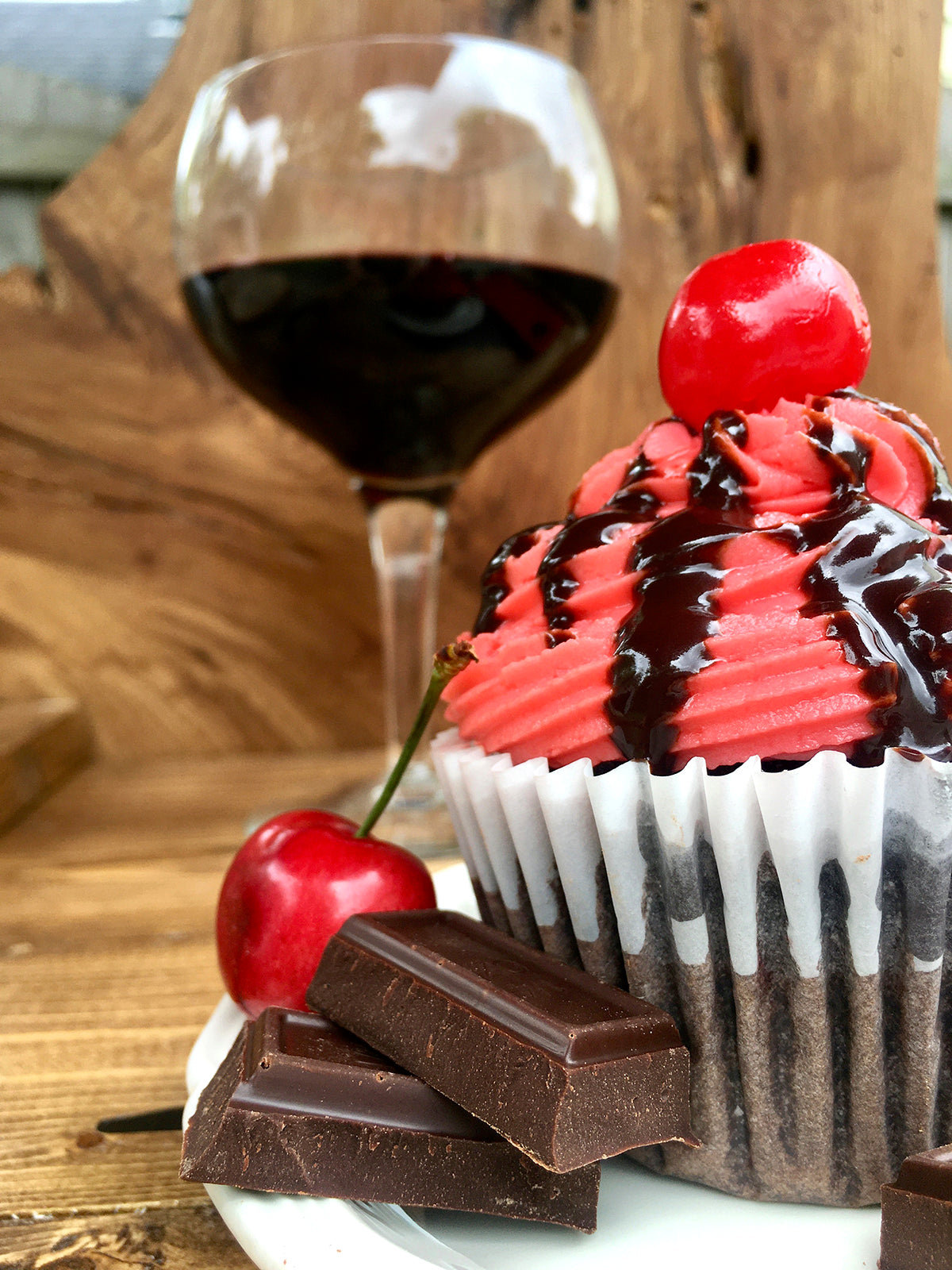 Chocolate & Wine Cherries Jubilee Cupcake