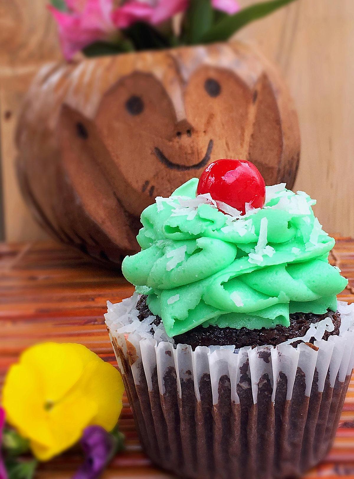 Chocolate Coconut Lime Rum Cupcake