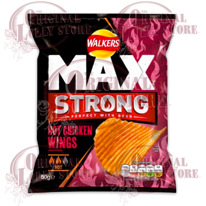 Walkers Max Strong Hot Chicken Wings Crisps 50g (BB 02/01/21)