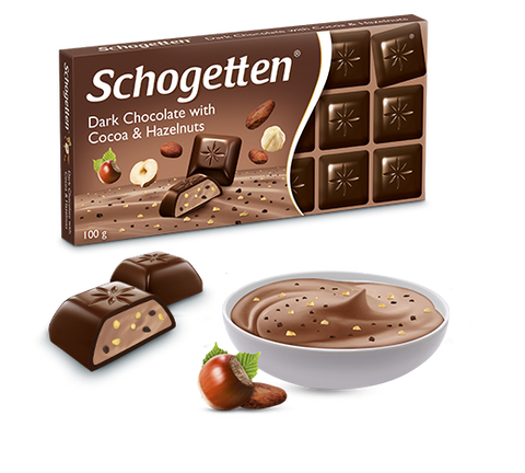Schogetten Dark Chocolate with Cocoa & Hazelnuts