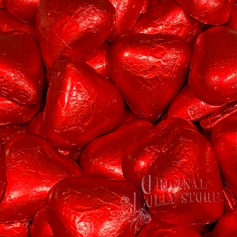 Milk Chocolate Red Foil Hearts