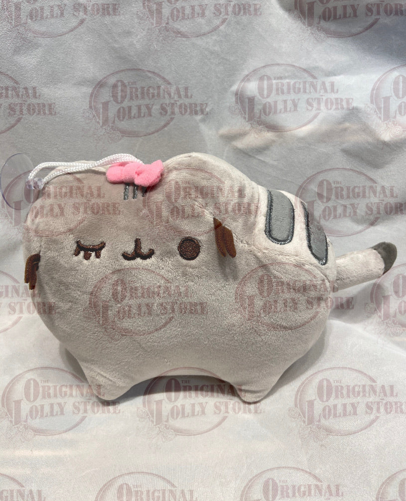 Grey cat with a pink bow Plush hanging