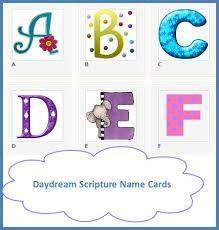 Buy DayDream Scripture Name Cards with a Biblical Meaning that are not sold in stores. Purchase Any of 700 Standard Names Now with a Pre-Printed Bible Verse.  Everyone loves to see their name in print, which is why they make the perfect personalized gift!