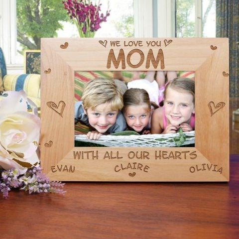All Our Hearts Personalized Wood Picture Frame - Treasures Made Just Because