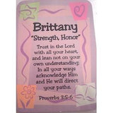"Girl Daydream Scripture Name Card with Pre-Printed Inspirational bible verse with meaning ""Chief"" for the name Bailey."