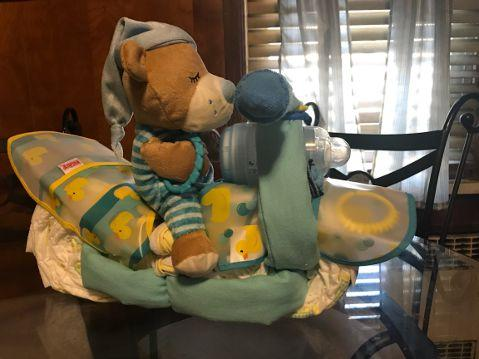 Boy Motorcycle Diaper Cake Centerpiece - Treasures Made Just Because