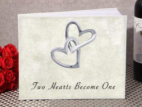 Classic Two Hearts Become One Wedding Guest Book - Treasures Made Just Because