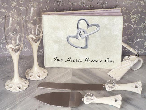 Classic Two Hearts Become One Wedding Accessory Set - Treasures Made Just Because