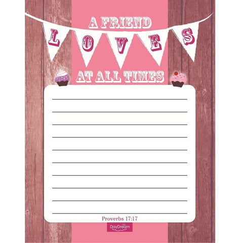 A Friend Loves at All Times Proverbs 17:17 Bible Verse Notepad - Treasures Made Just Because