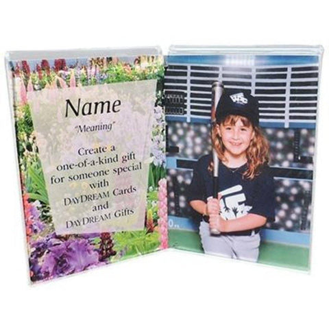 Buy this Acrylic 3 x 5 Double Frame that can be Combined with a Daydream Scripture Name Card and or your photo to create a lovely gift. 3.5 High x 2.5 Wide.