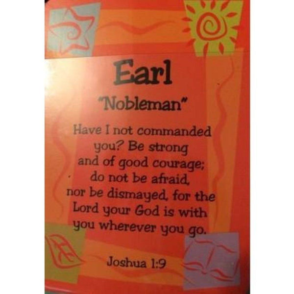 Buy a Daydream Male Scripture Name Card that starts with the Letter E. Includes name meaning and a pre-printed inspirational bible verse. Card Dimensions 2.5 x 3.5 Tall. Names Earl - Evan will have their name and meaning in print on this card.