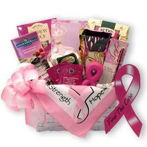 Buy this Find a Cure Breast Cancer Gift Basket is a perfect gift for a loved one or a friend,or for use at any breast cancer fundraising event. Share Courage, Hope & Strength are just a few things needed to fight breast cancer, why not let them know you are thinking of them by sending this beautiful gift basket.