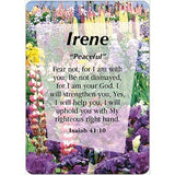 Buy Girl Daydream Scripture Name Cards that begin with I. Inspirational bible verse with meaning of the name is pre-printed on each name card. 2 Standard Names are Available. All Female and Girl Names that start with the Letter I. (Irene - Isabella) Colors and Background Prints vary. Card Dimensions 2.5 x 3.5 Tall. Every Girl and Female will love to see her name and meaning in print on a card.