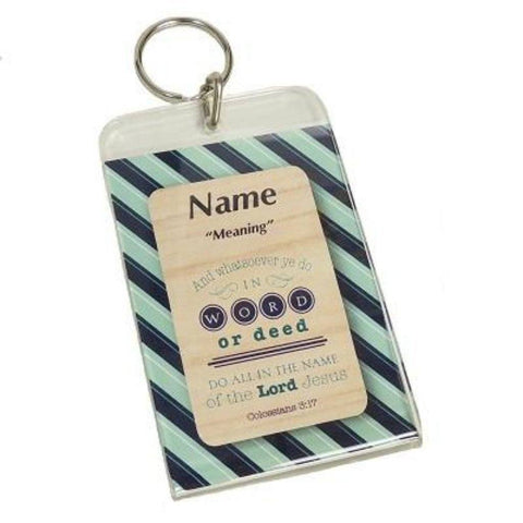 Buy this Acrylic Photo Keychain 2 x 3 that will make a meaningful keepsake when coupled with a Daydream Scripture Name Card. Holds a photo on one side. Keychain is 3.5 x 2.5.